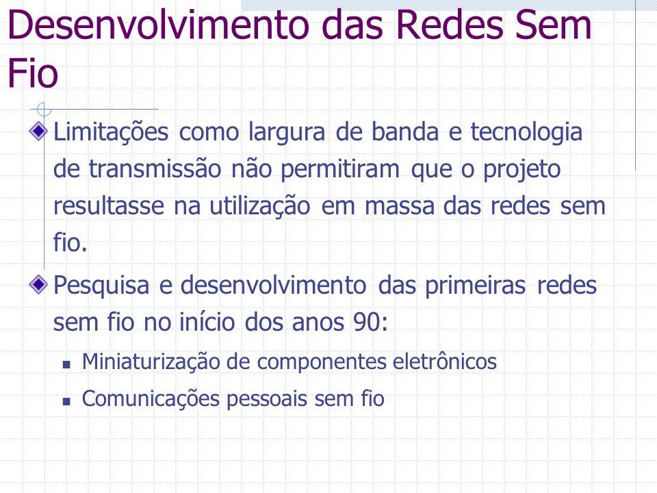 Desenvolvimento das Redes Sem Fio Limitações como largura de banda e tecnologia de transmissão não permitiram que o projeto resultasse na utilização e