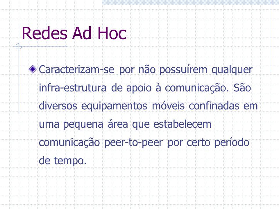 Redes Ad Hoc Caracterizam-se por não possuírem qualquer infra-estrutura de apoio à comunicação. São diversos equipamentos móveis confinadas em uma peq