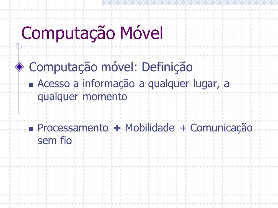 Computação Móvel Computação móvel: Definição Acesso a informação a qualquer lugar, a qualquer momento Processamento + Mobilidade + Comunicação sem fio