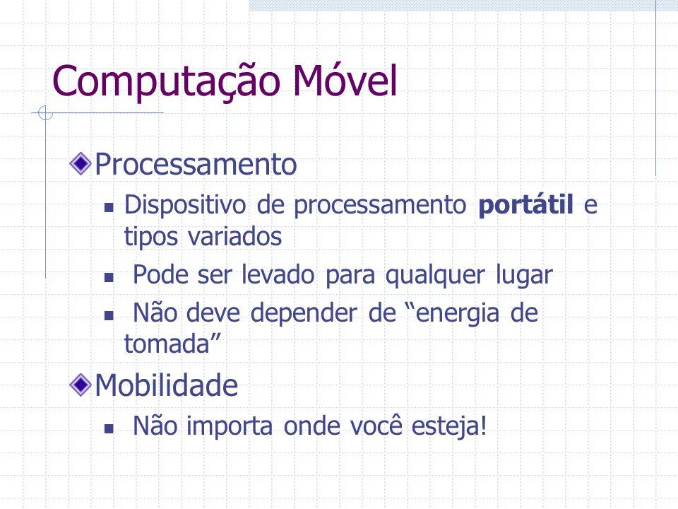 Computação Móvel Processamento Dispositivo de processamento portátil e tipos variados Pode ser levado para qualquer lugar Não deve depender de energia