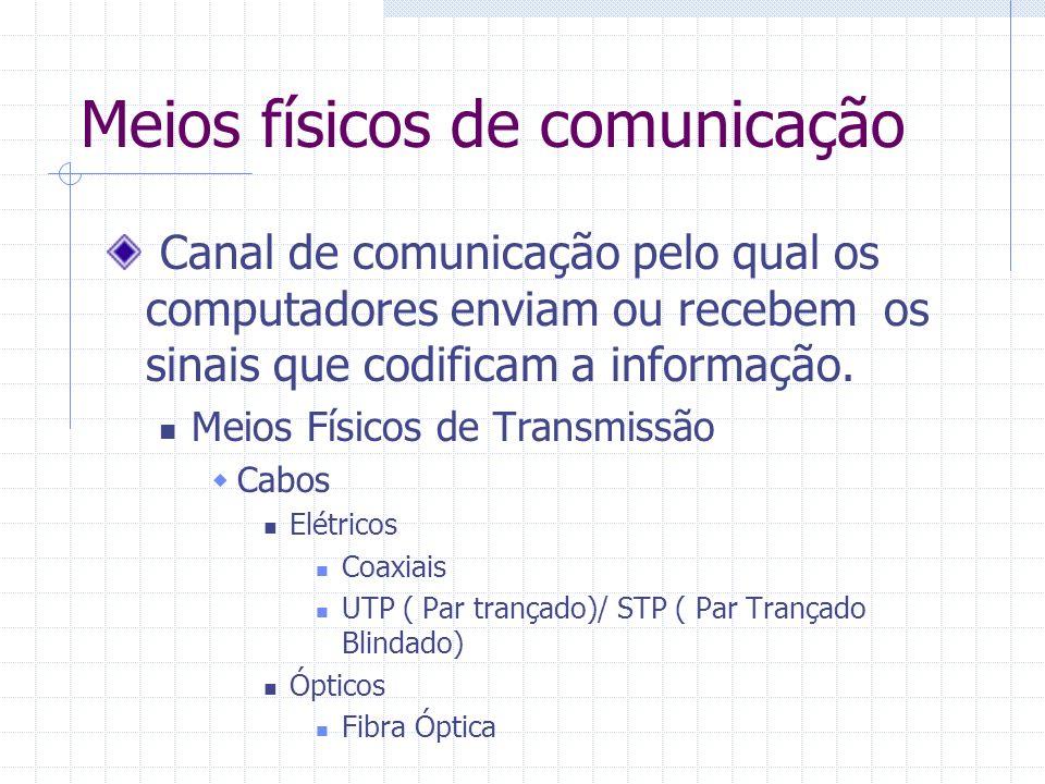 Meios físicos de comunicação Canal de comunicação pelo qual os computadores enviam ou recebem os sinais que codificam a informação. Meios Físicos de T