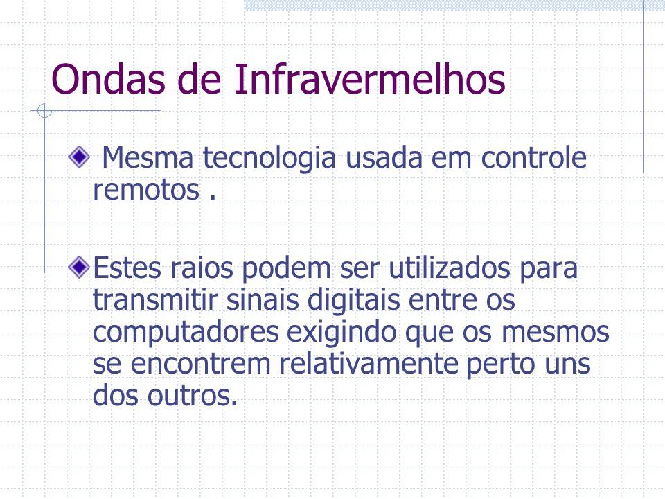 Ondas de Infravermelhos Mesma tecnologia usada em controle remotos. Estes raios podem ser utilizados para transmitir sinais digitais entre os computad