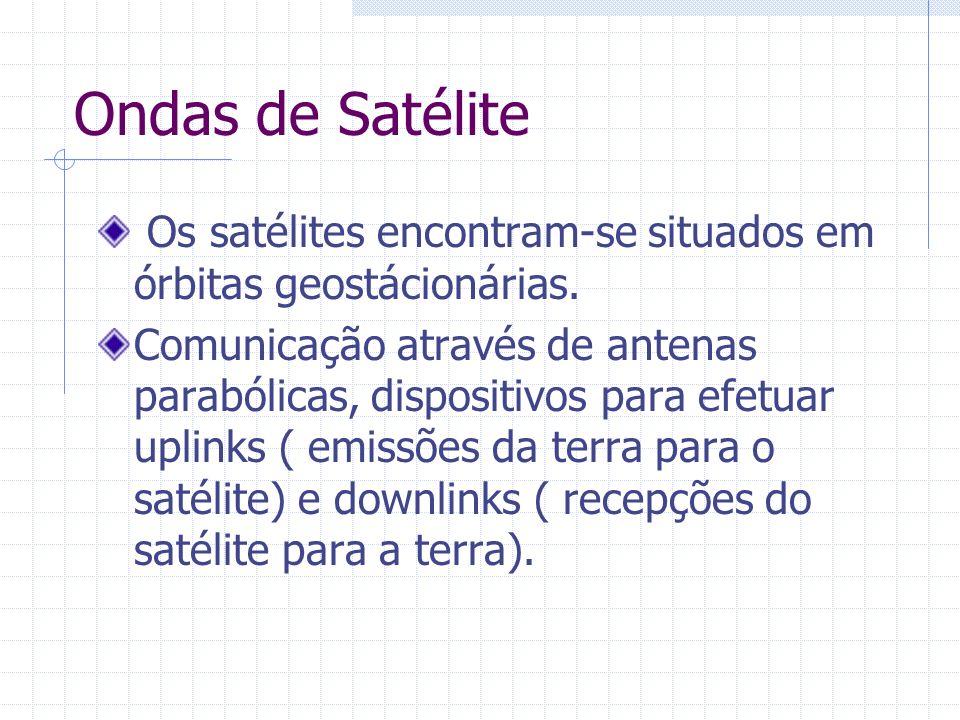 Ondas de Satélite Os satélites encontram-se situados em órbitas geostácionárias. Comunicação através de antenas parabólicas, dispositivos para efetuar