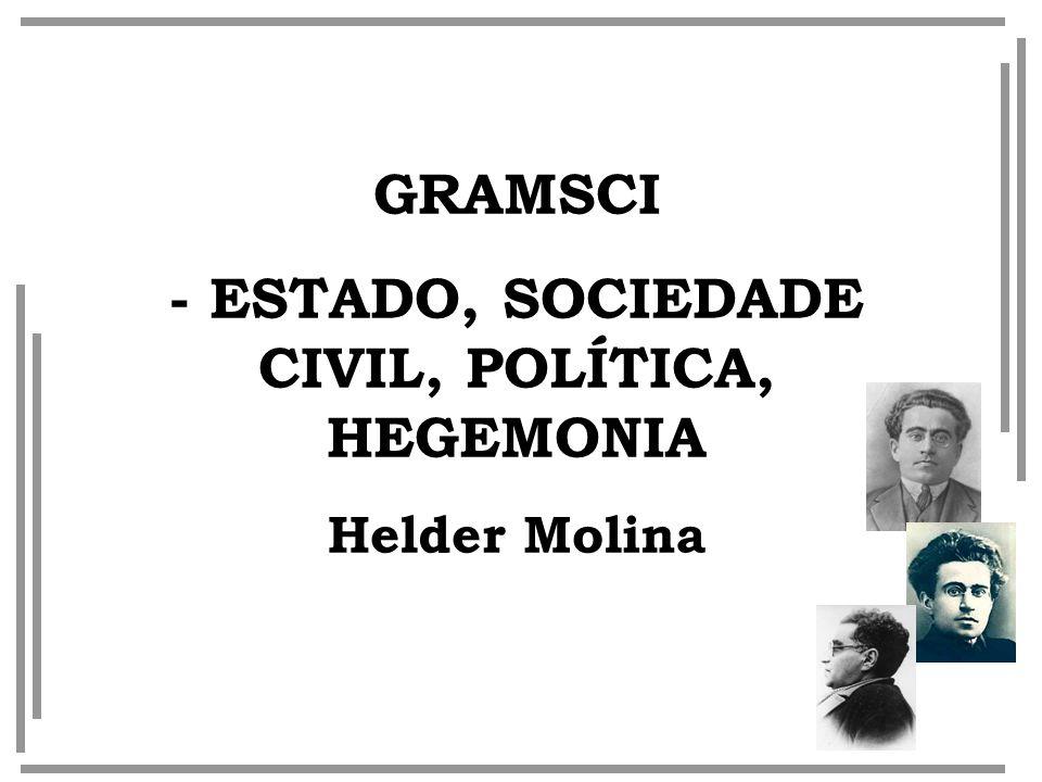 GRAMSCI - ESTADO, SOCIEDADE CIVIL, POLÍTICA, HEGEMONIA Helder Molina