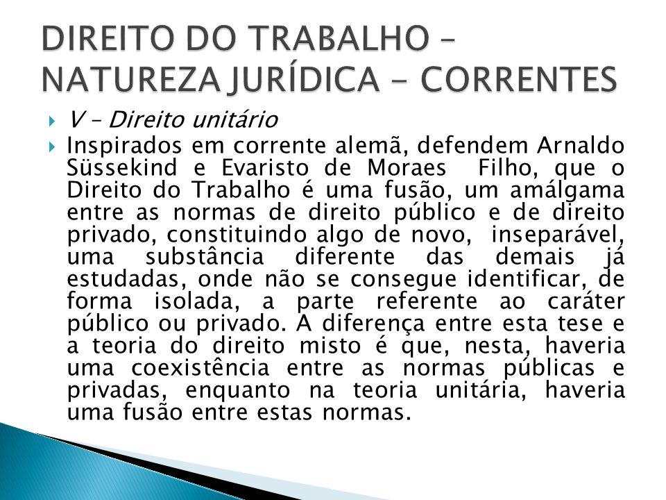 V – Direito unitário Inspirados em corrente alemã, defendem Arnaldo Süssekind e Evaristo de Moraes Filho, que o Direito do Trabalho é uma fusão, um am