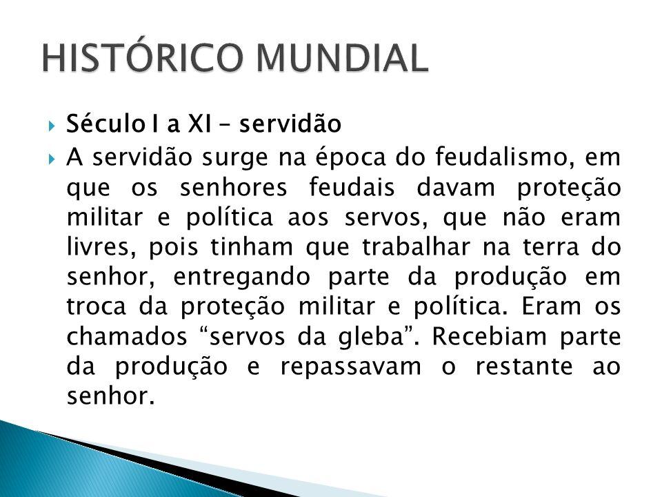 Século I a XI – servidão A servidão surge na época do feudalismo, em que os senhores feudais davam proteção militar e política aos servos, que não era