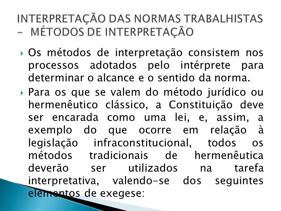 Os métodos de interpretação consistem nos processos adotados pelo intérprete para determinar o alcance e o sentido da norma. Para os que se valem do m
