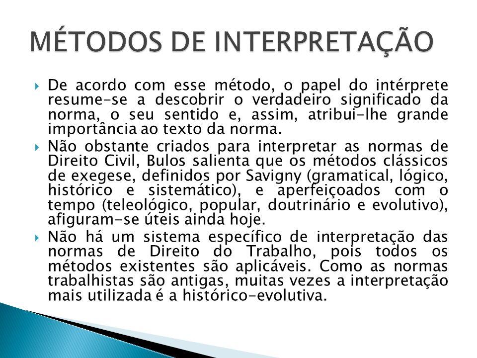 De acordo com esse método, o papel do intérprete resume-se a descobrir o verdadeiro significado da norma, o seu sentido e, assim, atribui-lhe grande i