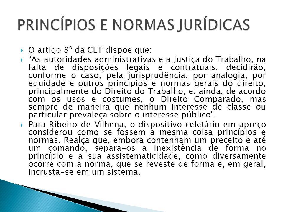 O artigo 8º da CLT dispõe que: As autoridades administrativas e a Justiça do Trabalho, na falta de disposições legais e contratuais, decidirão, confor