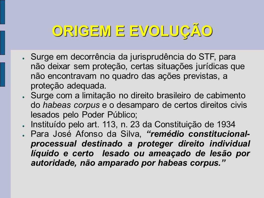 ORIGEM E EVOLUÇÃO Surge em decorrência da jurisprudência do STF, para não deixar sem proteção, certas situações jurídicas que não encontravam no quadr