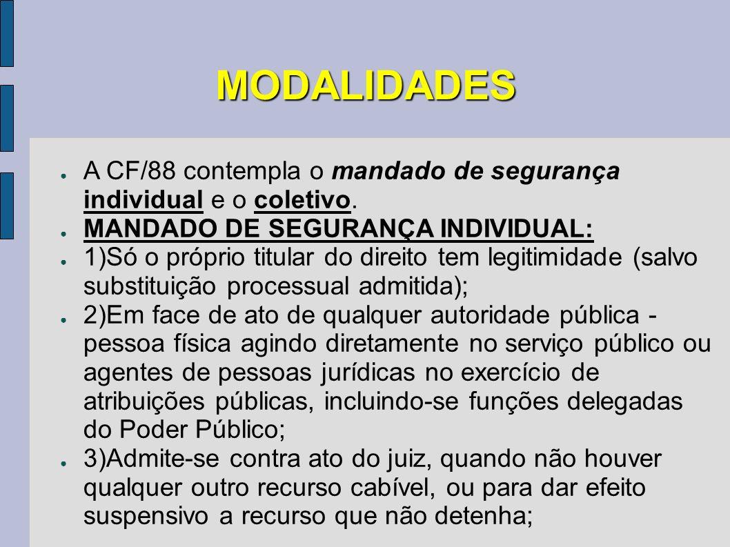 MODALIDADES A CF/88 contempla o mandado de segurança individual e o coletivo. MANDADO DE SEGURANÇA INDIVIDUAL: 1)Só o próprio titular do direito tem l