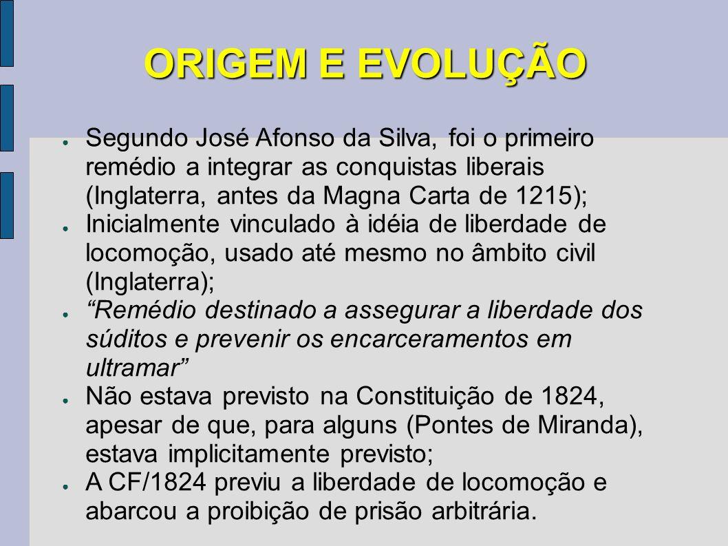 ORIGEM E EVOLUÇÃO Segundo José Afonso da Silva, foi o primeiro remédio a integrar as conquistas liberais (Inglaterra, antes da Magna Carta de 1215); I