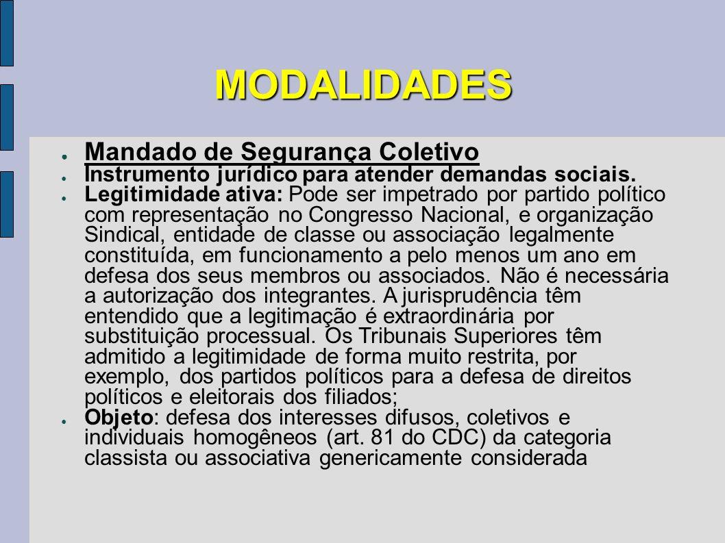 MODALIDADES Mandado de Segurança Coletivo Instrumento jurídico para atender demandas sociais. Legitimidade ativa: Pode ser impetrado por partido polít
