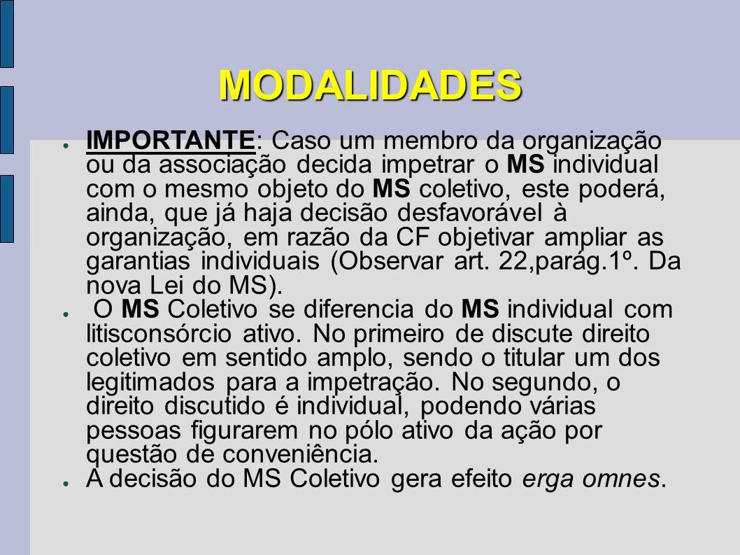 MODALIDADES IMPORTANTE: Caso um membro da organização ou da associação decida impetrar o MS individual com o mesmo objeto do MS coletivo, este poderá,