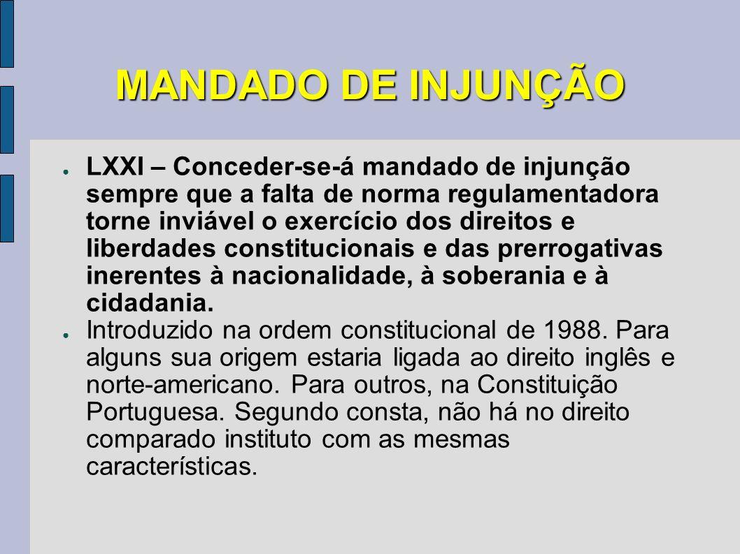MANDADO DE INJUNÇÃO LXXI – Conceder-se-á mandado de injunção sempre que a falta de norma regulamentadora torne inviável o exercício dos direitos e lib