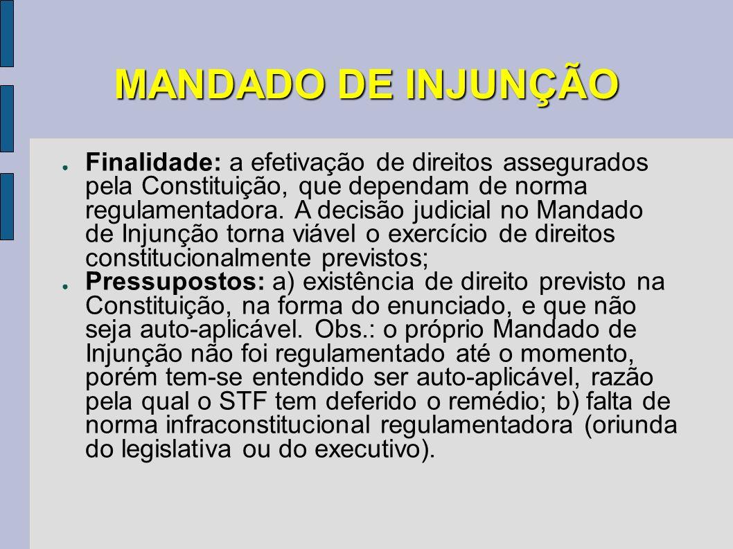 MANDADO DE INJUNÇÃO Finalidade: a efetivação de direitos assegurados pela Constituição, que dependam de norma regulamentadora. A decisão judicial no M