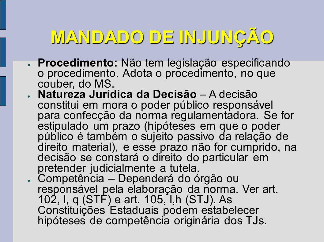 MANDADO DE INJUNÇÃO Procedimento: Não tem legislação especificando o procedimento. Adota o procedimento, no que couber, do MS. Natureza Jurídica da De