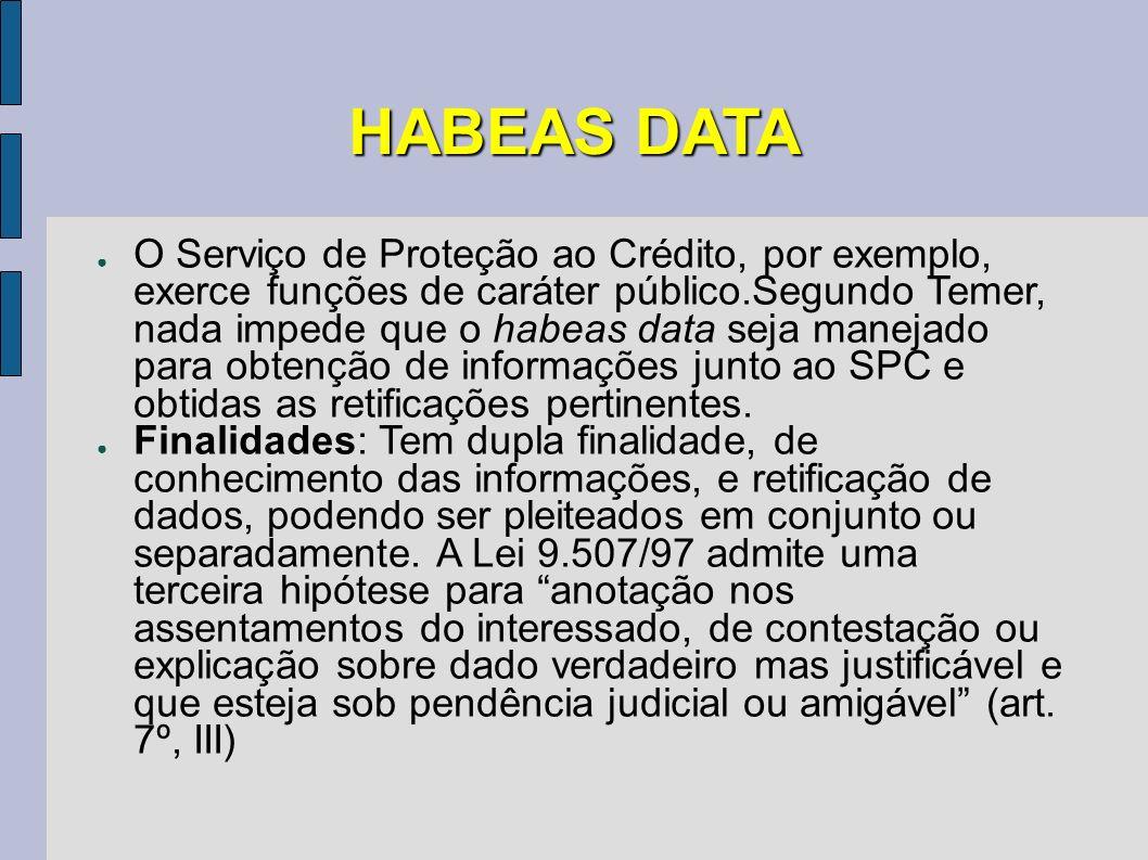 HABEAS DATA O Serviço de Proteção ao Crédito, por exemplo, exerce funções de caráter público.Segundo Temer, nada impede que o habeas data seja manejad