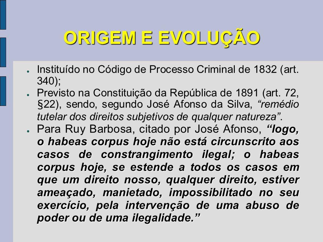 ORIGEM E EVOLUÇÃO Instituído no Código de Processo Criminal de 1832 (art. 340); Previsto na Constituição da República de 1891 (art. 72, §22), sendo, s