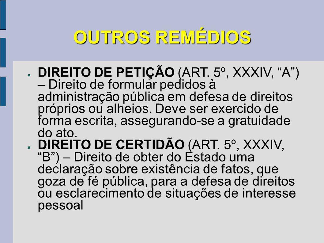 OUTROS REMÉDIOS DIREITO DE PETIÇÃO (ART. 5º, XXXIV, A) – Direito de formular pedidos à administração pública em defesa de direitos próprios ou alheios