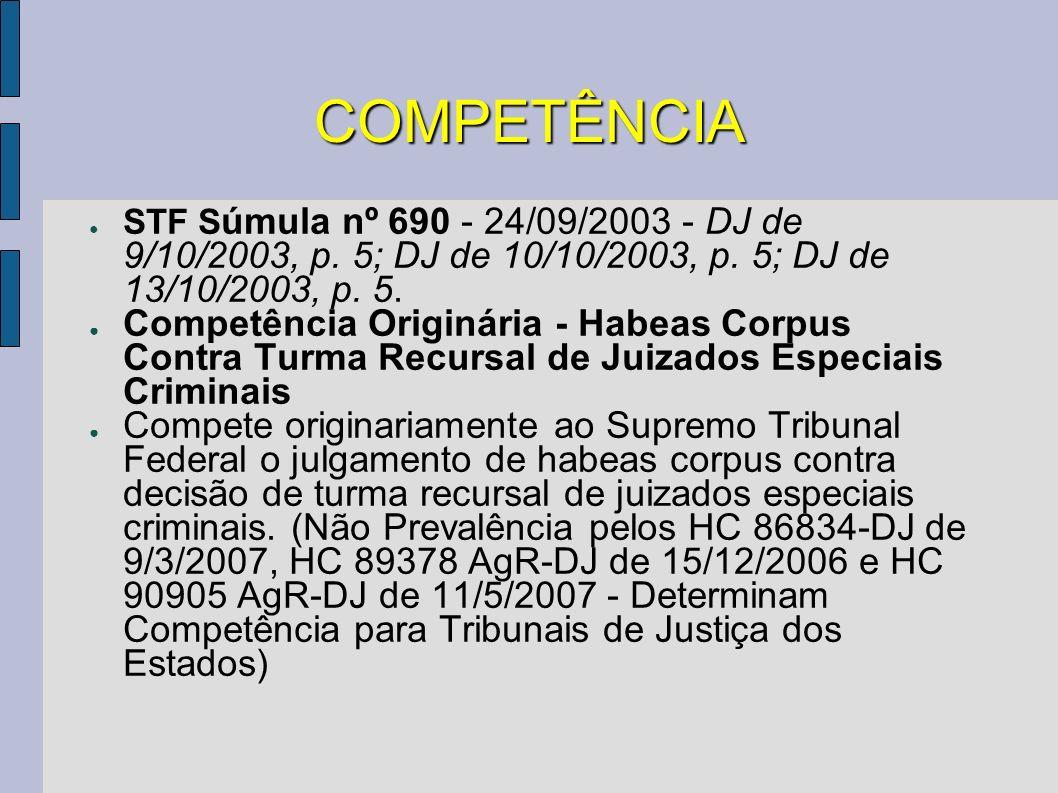 COMPETÊNCIA STF S úmula nº 690 - 24/09/2003 - DJ de 9/10/2003, p. 5; DJ de 10/10/2003, p. 5; DJ de 13/10/2003, p. 5. Competência Originária - Habeas C