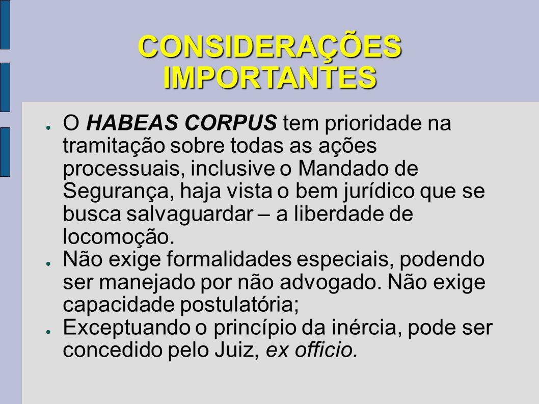 CONSIDERAÇÕES IMPORTANTES O HABEAS CORPUS tem prioridade na tramitação sobre todas as ações processuais, inclusive o Mandado de Segurança, haja vista