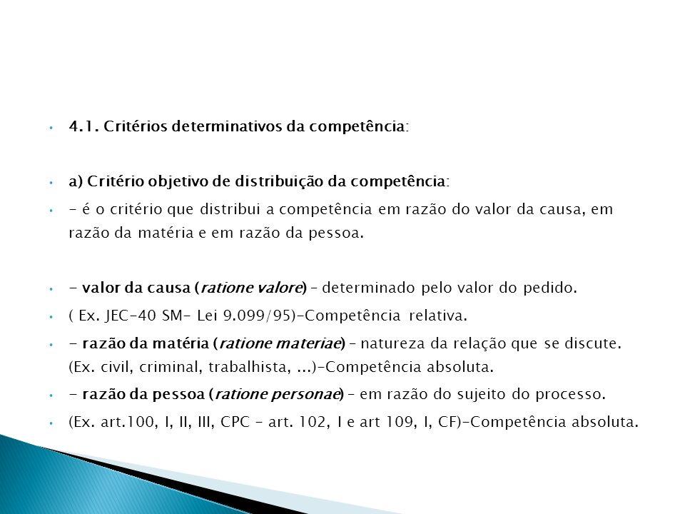 4.1. Critérios determinativos da competência: a) Critério objetivo de distribuição da competência: - é o critério que distribui a competência em razão