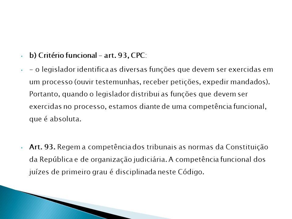 b) Critério funcional – art. 93, CPC: - o legislador identifica as diversas funções que devem ser exercidas em um processo (ouvir testemunhas, receber