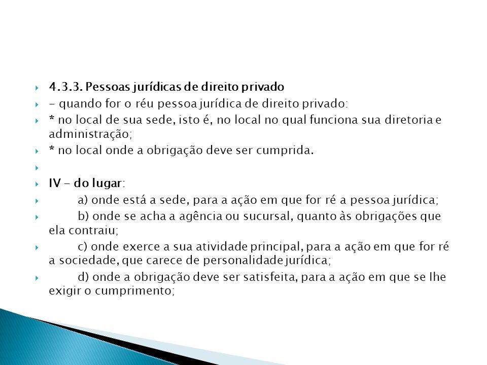 4.3.3. Pessoas jurídicas de direito privado - quando for o réu pessoa jurídica de direito privado: * no local de sua sede, isto é, no local no qual fu
