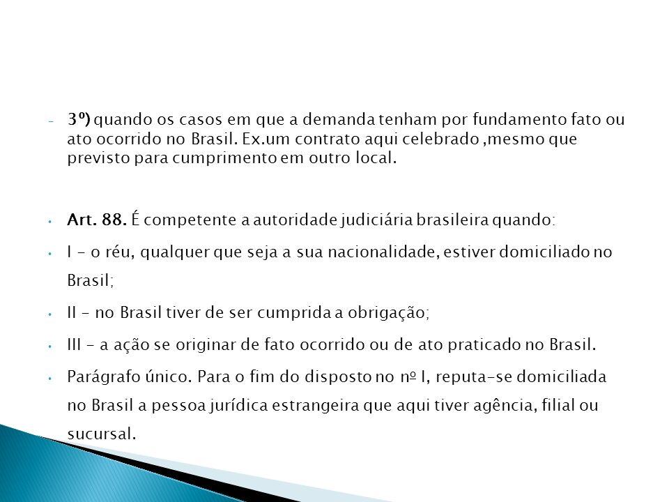 - 3º) quando os casos em que a demanda tenham por fundamento fato ou ato ocorrido no Brasil. Ex.um contrato aqui celebrado,mesmo que previsto para cum