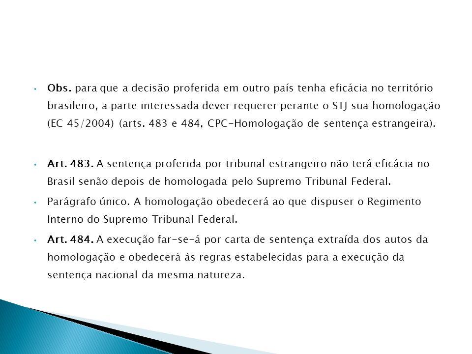 Obs. para que a decisão proferida em outro país tenha eficácia no território brasileiro, a parte interessada dever requerer perante o STJ sua homologa