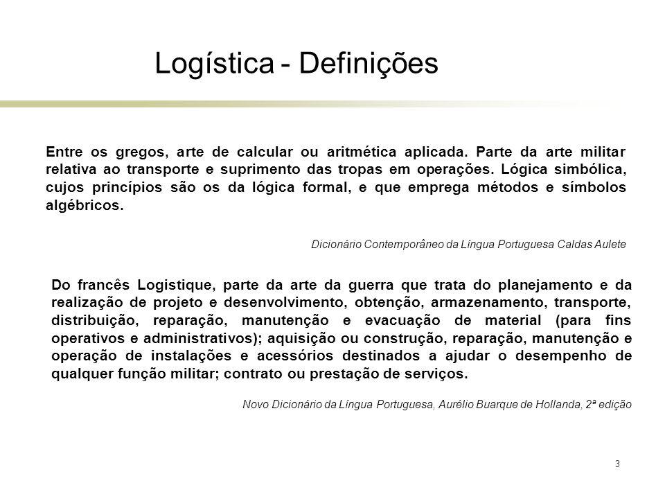 3 Logística - Definições Entre os gregos, arte de calcular ou aritmética aplicada. Parte da arte militar relativa ao transporte e suprimento das tropa