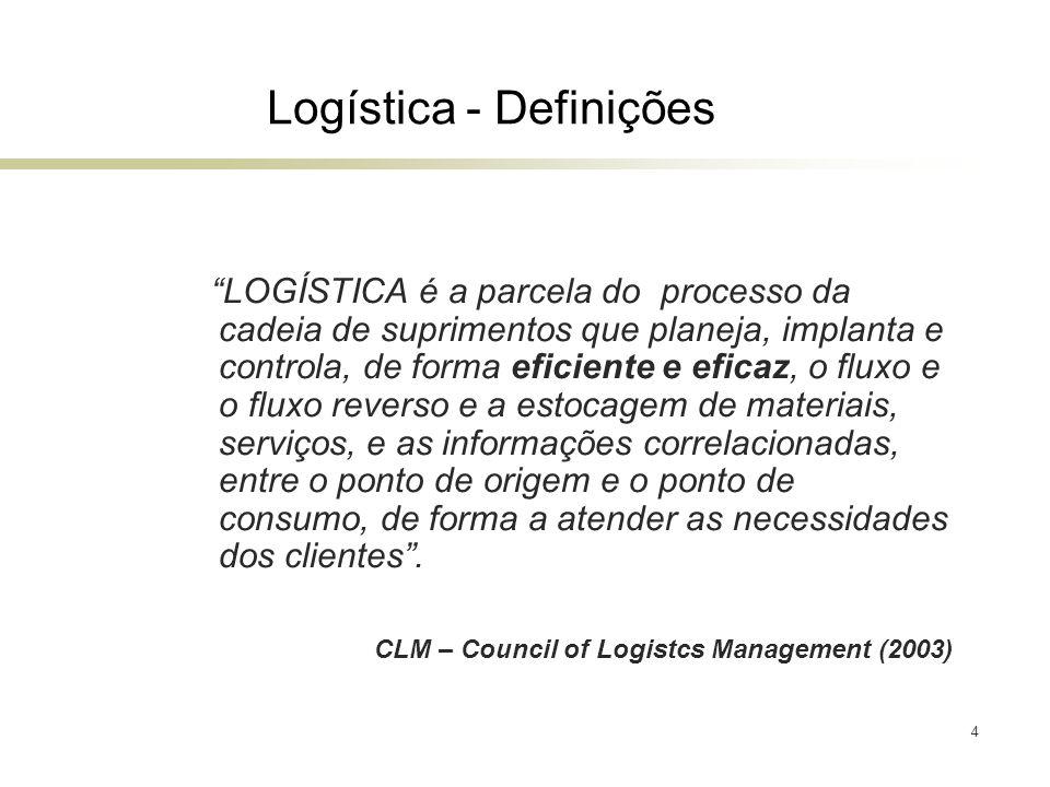 4 Logística - Definições LOGÍSTICA é a parcela do processo da cadeia de suprimentos que planeja, implanta e controla, de forma eficiente e eficaz, o f