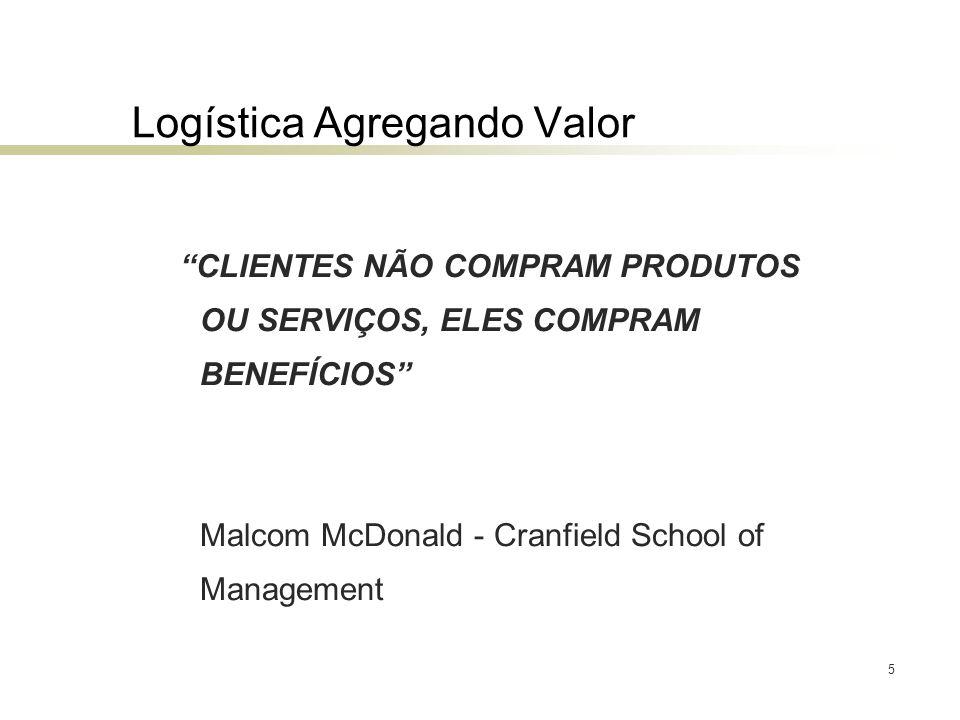 5 Logística Agregando Valor CLIENTES NÃO COMPRAM PRODUTOS OU SERVIÇOS, ELES COMPRAM BENEFÍCIOS Malcom McDonald - Cranfield School of Management