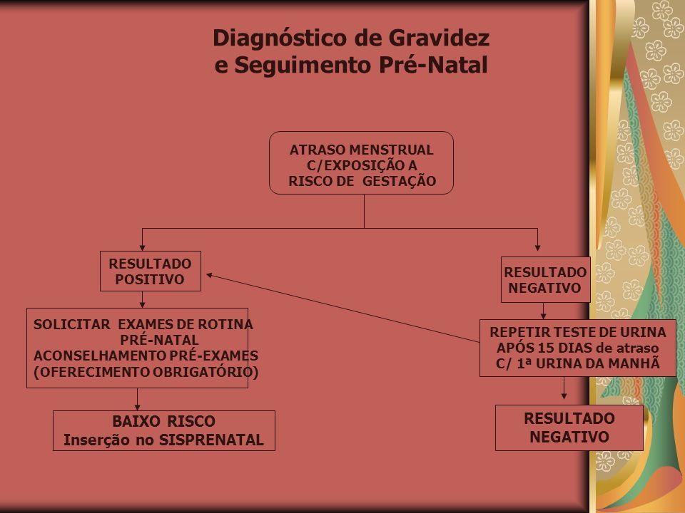 Diagnóstico de Gravidez e Seguimento Pré-Natal ATRASO MENSTRUAL C/EXPOSIÇÃO A RISCO DE GESTAÇÃO RESULTADO POSITIVO RESULTADO NEGATIVO SOLICITAR EXAMES