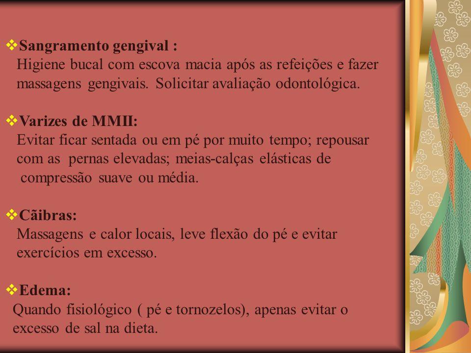 Sangramento gengival : Higiene bucal com escova macia após as refeições e fazer massagens gengivais. Solicitar avaliação odontológica. Varizes de MMII