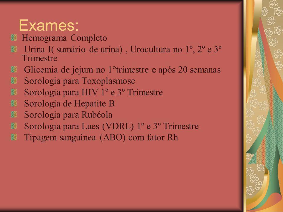 Exames: Hemograma Completo Urina I( sumário de urina), Urocultura no 1º, 2º e 3º Trimestre Glicemia de jejum no 1°trimestre e após 20 semanas Sorologi