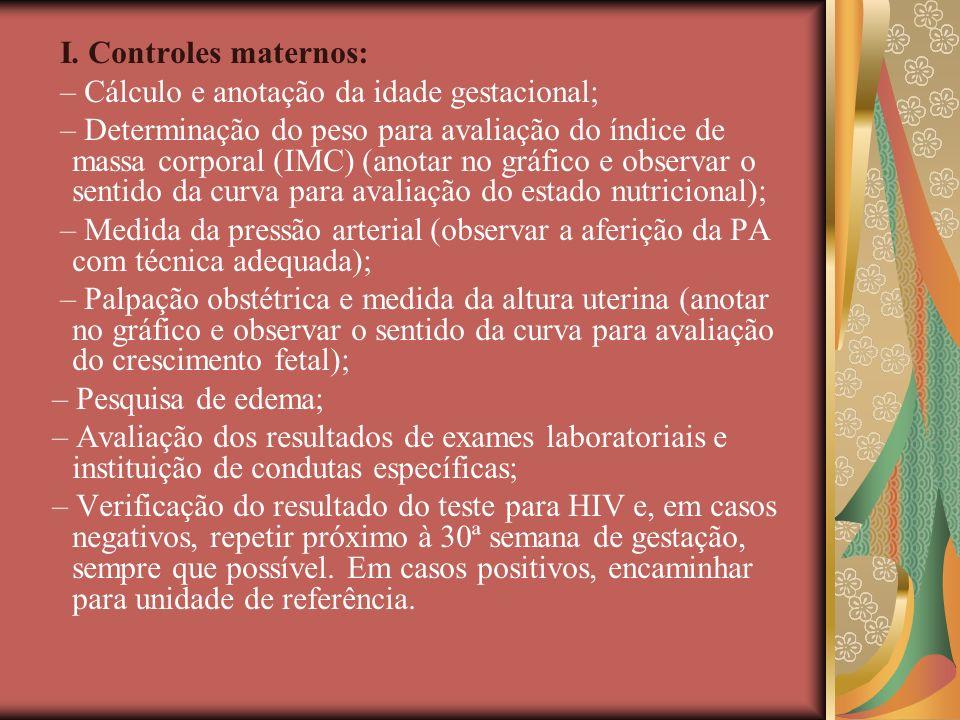 I. Controles maternos: – Cálculo e anotação da idade gestacional; – Determinação do peso para avaliação do índice de massa corporal (IMC) (anotar no g