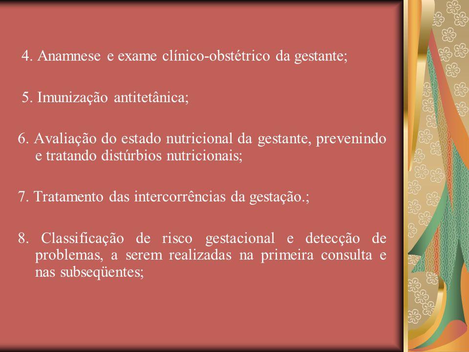 4. Anamnese e exame clínico-obstétrico da gestante; 5. Imunização antitetânica; 6. Avaliação do estado nutricional da gestante, prevenindo e tratando