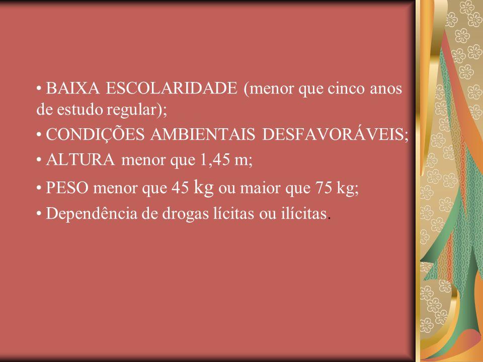 BAIXA ESCOLARIDADE (menor que cinco anos de estudo regular); CONDIÇÕES AMBIENTAIS DESFAVORÁVEIS; ALTURA menor que 1,45 m; PESO menor que 45 kg ou maio