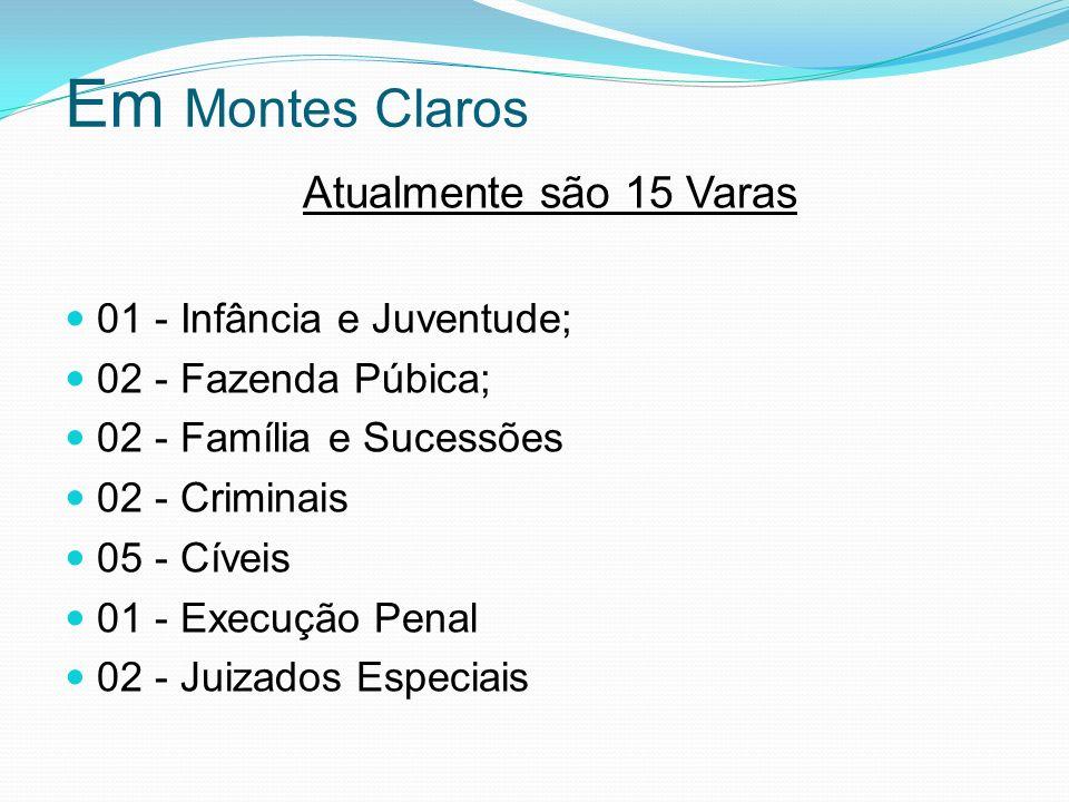Em Montes Claros Atualmente são 15 Varas 01 - Infância e Juventude; 02 - Fazenda Púbica; 02 - Família e Sucessões 02 - Criminais 05 - Cíveis 01 - Exec