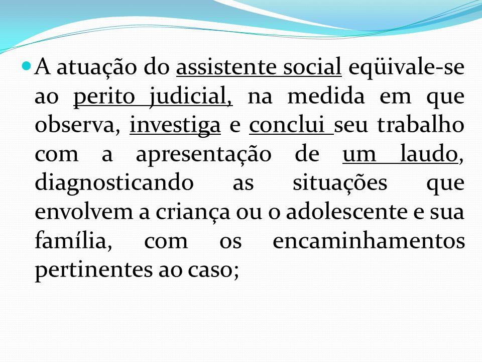 A atuação do assistente social eqüivale-se ao perito judicial, na medida em que observa, investiga e conclui seu trabalho com a apresentação de um lau