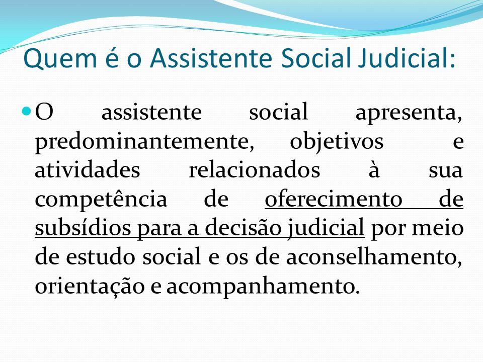 Quem é o Assistente Social Judicial: O assistente social apresenta, predominantemente, objetivos e atividades relacionados à sua competência de oferec