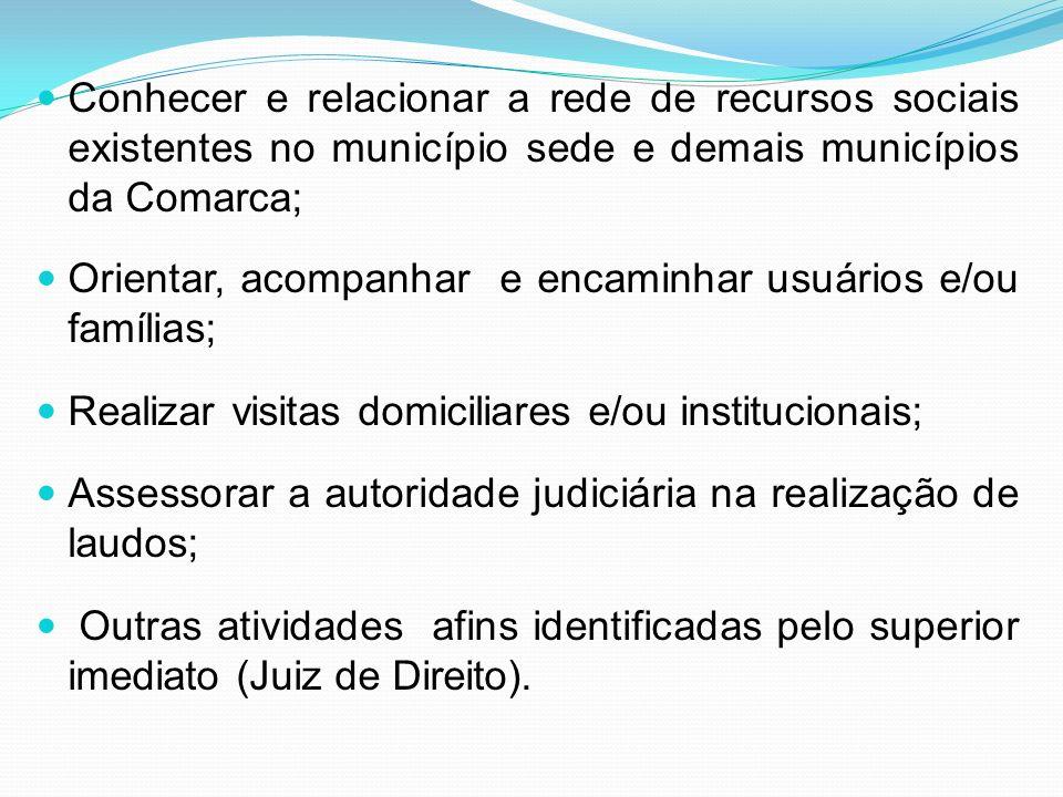 Conhecer e relacionar a rede de recursos sociais existentes no município sede e demais municípios da Comarca; Orientar, acompanhar e encaminhar usuári