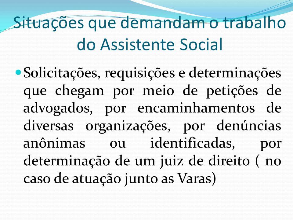 Situações que demandam o trabalho do Assistente Social Solicitações, requisições e determinações que chegam por meio de petições de advogados, por enc