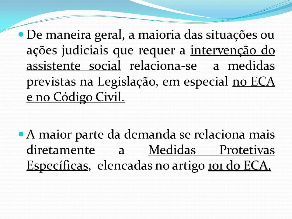 De maneira geral, a maioria das situações ou ações judiciais que requer a intervenção do assistente social relaciona-se a medidas previstas na Legisla