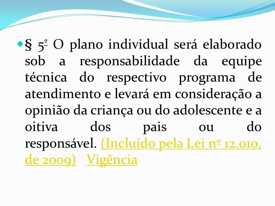 § 5 º O plano individual será elaborado sob a responsabilidade da equipe técnica do respectivo programa de atendimento e levará em consideração a opin
