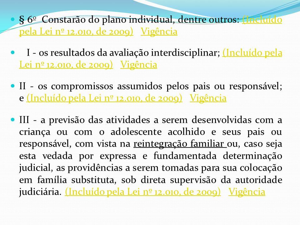 § 6 o Constarão do plano individual, dentre outros: (Incluído pela Lei nº 12.010, de 2009) Vigência(Incluído pela Lei nº 12.010, de 2009)Vigência I -