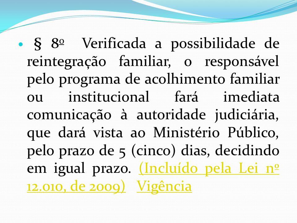 § 8 o Verificada a possibilidade de reintegração familiar, o responsável pelo programa de acolhimento familiar ou institucional fará imediata comunica