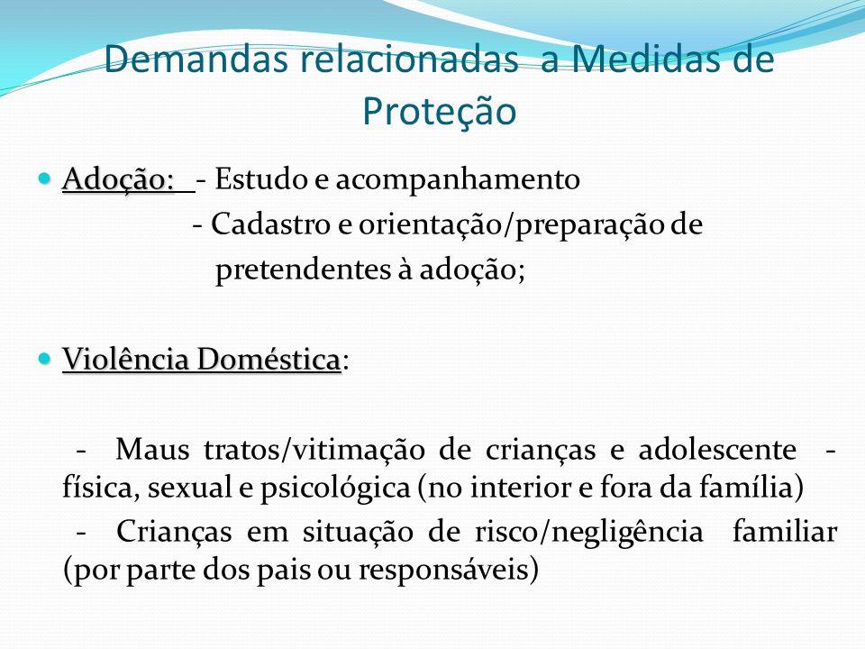 Demandas relacionadas a Medidas de Proteção Adoção: Adoção: - Estudo e acompanhamento - Cadastro e orientação/preparação de pretendentes à adoção; Vio